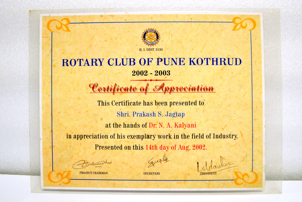 Sajdyno - Certificate of Appreciation Rotary Club of Pune Kothrud