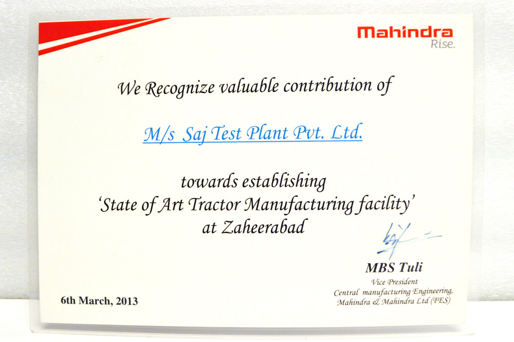 Sajdyno - Certificate of Valuable Contribution Mahindra Rise